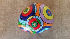 Painted stone,Abstract design,painted rock,rock art,stone art,painted rocks,painted stones,Unique collectible stone ,red,blue,green,purple