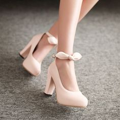 NEW Women Shoes Mary Jane BOW Thick High Heel Pumps Ankle Strap US ALL Size S229   eBay