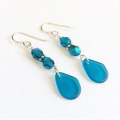 Sea glass drop earrings beach boho drop earrings by Rubybluejewels