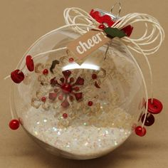 ~ Clear Ornament w/ Glitter, Packing Twine & Beads ~ So simple, yet elegant....