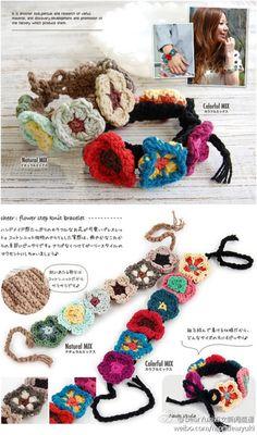 Bracelets Yarn fabric at Stylowi. Love Crochet, Crochet Gifts, Crochet Motif, Diy Crochet, Crochet Flowers, Crochet Hooks, Crochet Patterns, Crochet Chain, Crochet Bracelet