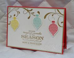 CHRISTMAS - Sweet Christmas card using In Colours, Everything Eleanor, Ornament Keepsakes and Magical Season (Single Stamp)