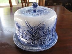 Flow Blue Covered Cake Plate Beautiful Molded Fern Design *Marked Crown M-C
