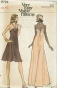 An original unused ca. 1974 Vogue pattern 8724.  Misses' Evening Dress. Flared halter dress in mid-knee or evening length has fitted bra bodice gathered at front to purchased ring. Strap, looped to ring, ties at back of neck.