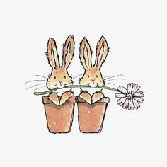 Cute Bunnies in Flower Pots illustration drawings bunny Bunny Art, Cute Bunny, Lapin Art, Art Mignon, Penny Black Stamps, Rabbit Art, Rabbit Drawing, Watercolor Cards, Cute Illustration