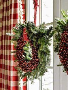 Christmas Wreaths - All Things Farmer: Atlanta Homes and Lifestyles Christmas House Country Christmas, Winter Christmas, Christmas Home, Christmas Wreaths, Christmas Crafts, Merry Christmas, Tartan Christmas, Xmas, Christmas Bedroom