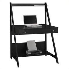 Bush MySpace Alamosa Wood Ladder Desk in Black