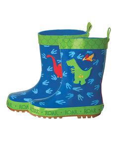 Look at this Stephen Joseph Blue & Green Dino Rain Boot on #zulily today!