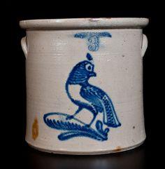 Unusual GEDDES, NY Stoneware Crock with Slip-Trailed Quail Decoration