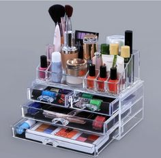 Keep all of your jewelry or makeup in one convenient, stackable system. Perfect for bracelets, rings, and necklaces, as well as shadow and blush palettes. The 16-small slots are also great for storing essential oils or vials of perfume.   eBay!