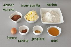 Ingredientes para hacer galletas de jengibre y canela Cake Recipes, Dessert Recipes, Desserts, Pastry Art, Brownie Cookies, Yummy Eats, Sin Gluten, Cakes And More, Cookie Decorating