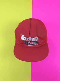 Vintage Marlboro hat, 1990s snapback, Marlboro cigarettes, 1992 racing team, Marlboro racing, trucker hat, baseball cap, embroidered hat by SpacedOutMama on Etsy