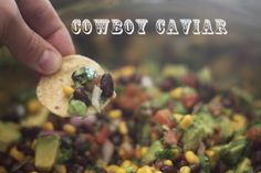 INGREDIENTS:  1 (11oz) can white shoepeg corn, drained & rinsed  1 (15oz) can black beans, drained & rinsed  1 (10 oz) can Rotel tomatoes, with juice  2 ripe avocados, diced  2/3 c. red onion, chopped  1/4 c. olive oil  1/4 c. red wine vinegar  2 cloves garlic, minced  3/4 tsp. salt  1 tsp. cumin  2/3 c. cilantro, chopped  a few dashes of tabasco (optional)