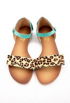 Leopard Strappy Falt Sandals in Turquoise - Retro, Indie and Unique Fashion