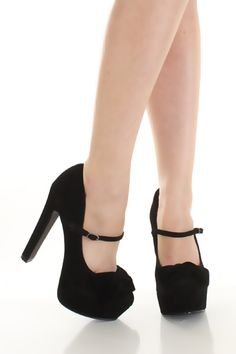 Black Suede Bow Closed Toe Mary Jane Buckle Platform Pump Heels