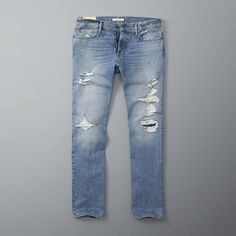 Abercrombie & Fitch Classic Straight Jeans ($35) ❤ liked on Polyvore featuring men's fashion, men's clothing, men's jeans, destroyed light wash, mens destroyed jeans, mens ripped jeans, mens straight jeans, mens light wash jeans and mens distressed jeans
