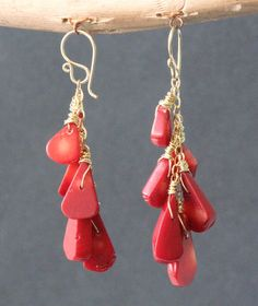 ModGlam 121 Smooth red coral drop earrings