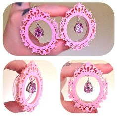 "Sarah Lorraine Designs — MADE TO ORDER 32mm (1-1/4"") - 50mm (2"") Baby pink ornate frame tunnels with chunky rhinestone drops"
