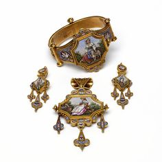 The Gilbert bracelet with the rest of the with matching brooch and earrings. Roman micromosaic jewelry, Italy, 1870