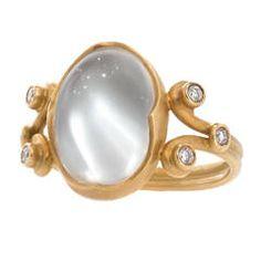 "Anahita One-of-a-Kind ""Platinum"" Moonstone Diamond Gold Heavenly Ring"