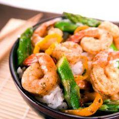 Chili Shrimp and Asparagus Stir Fry Recipe Main Dishes with soy sauce, sherry, peeled fresh ginger, sesame oil, asparagus, chili pepper, garlic, bell pepper, large shrimp, salt