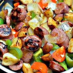 This Skillet Sausage and Potatoes is full of simple wholesome ingredients and is quick to fix. It is a perfect meal for busy families. Sausage And Potatoes Skillet, Sausage And Peppers, Stuffed Peppers, Sausage Crockpot, Roasted Italian Sausage, Italian Sausage Recipes, Turkey Sausage, One Skillet Meals, One Pot Meals