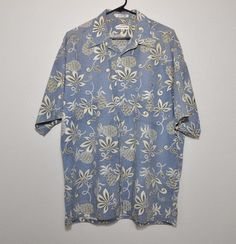 Hawaiian Shirt Pierre Cardin 100% Cotton Blue  Floral on Blocks Men's XL #PierreCardin #Hawaiian
