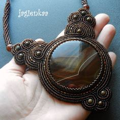 Bead embroidered and bezelled cabochon necklace by Jagienkaa