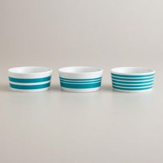 Aqua Striped Ramekins, Set of 3