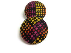 Fabric Covered Button Earrings-10%off