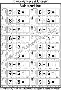 Subtraction – 1 Digit – 3 Worksheets