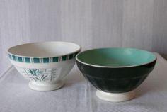 Deux anciens BOLS DIGOIN superbe 1 fleuri vert SYLVIA + 1 vert noir BOWL tbé