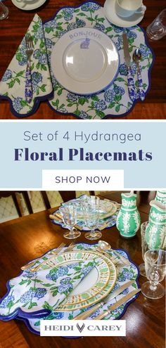 These beautiful handcrafted 100% cotton floral placemats are the perfect table accessory to elevate any table setting. Featuring our signature elegant scalloped trim, the graceful hydrangea pattern is block print by hand. High on decorative appeal, this set also makes a wonderful gift for any special occasion. Set of 4 placemats and 4 napkins are machine washable. Discover more homewear inspiration on my profile. #placemats #napkins #cotton #homewear #placesetting Table Setting Inspiration, Beautiful Table Settings, Table Accessories, Placemat Sets, Cotton Napkins, Elegant Table, Inspirational Gifts, Small Gifts, Hydrangea