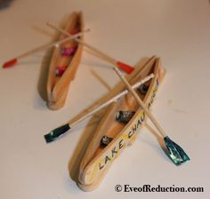 KAYA -- How to make a Popsicle Stick Canoe Craft - Eve of Reduction Popsicle Stick Crafts For Kids, Popsicle Sticks, Craft Stick Crafts, Match Stick Craft, Lolly Stick Craft, Craft Sticks, Projects For Kids, Craft Projects, Canada Day Crafts