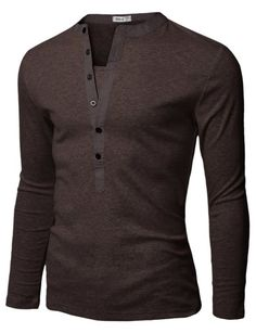 Doublju Mens Henley T-shirts with Long Sleeve BROWN (US-XS)