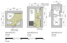 Three bathroom layout plans for small areas- now to convert the measurements...