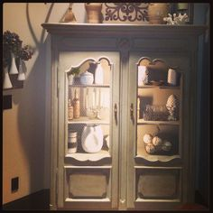 Annie Sloan painted antique hutch in chateau gray