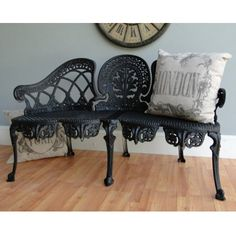 English Garden Bench Furniture victorian old style cane seat metal LOVELY chair
