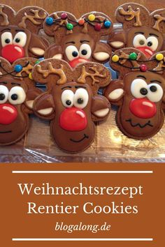 Weihnachtsrezept: Rentier Cookies Christmas Recipe – Reindeer Cookies – easy to bake, quickly done! Gingerbread Cookies, Christmas Cookies, Merry Christmas, Some Ideas, Biscotti, Reindeer, Bakery, Apple, Gluten