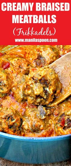 Deliciously creamy and perfectly spiced braised meatballs. This South African dish (Frikkadels) is a family favorite! | manilaspoon.com