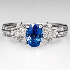 Fleur+De+Lis'+Blue+Sapphire+Engagement+Ring+18K+White+Gold