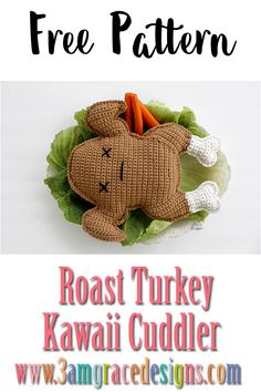 crochet amigurumi ideas Free Roast Turkey crochet pattern perfect for Thanksgiving! Kawaii Crochet, Crochet Food, Crochet Gifts, Cute Crochet, Crochet Stitches Patterns, Crochet Patterns For Beginners, Crochet Patterns Amigurumi, Crochet Designs, Thanksgiving Crochet