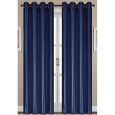 Charlton Home Mattingly Solid Semi-Sheer Grommet Faux Silk Single Curtain Panel Faux Silk Curtains, Grommet Curtains, Panel Curtains, Beautiful Curtains, Vibrant Colors, Living Room, Bedroom, Navy Blue, Walmart