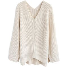 Chicwish Ultra-Cozy Ribbed V-Neck Knit Sweater in Cream (2.955 RUB) ❤ liked on Polyvore featuring tops, sweaters, shirts, sweatshirt, cardigans, white, ribbed knit sweater, rib knit sweater, ribbed sweater and v neck sweater