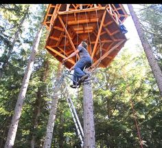 We gotta try this! Bicycle powered tree house elevator