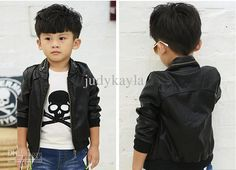 Pure Black Children Leather Jacket Best Quality Fashion Boys Casual Leather Coat 5 Different Size 3-8Year Baby Kids Jackets 5pcs/lot QZ49