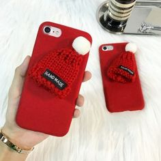 Funda con adorno de gorro para iphone 6, 6s, 7, 7plus