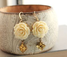 Rose Earrings, Light Yellow Dangle, Cream Rose, vintage glass drop, Floral Shabby Chic jewelry, botanical, flower, nature, Yellow  Drop