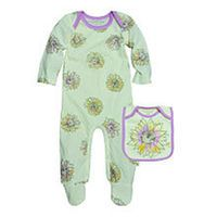 Burt's Bees Baby Girls Organic Ivory Watercolor Sunflower Printed Footie with Matching Bib