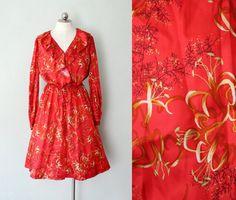 1960s Red silk Dress // Oriental Lilly print / by AnatomyVintage, $92.00